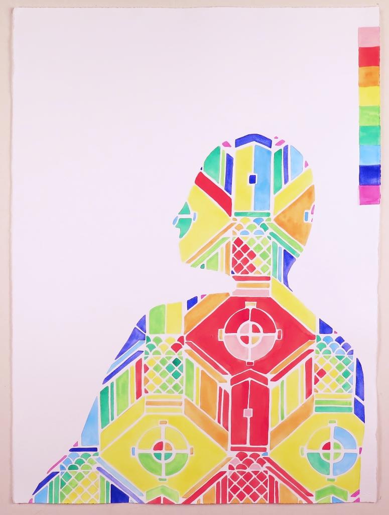 Navine G. Khan-Dossos Anti-Muse VI, gouache on paper, 56cm x 76cm, 2015.